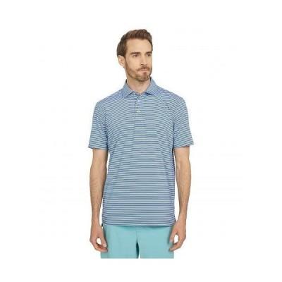 Southern Tide メンズ 男性用 ファッション ポロシャツ Brrr-Eeze Archdale Stripe Performance Polo - Seven Seas Blue