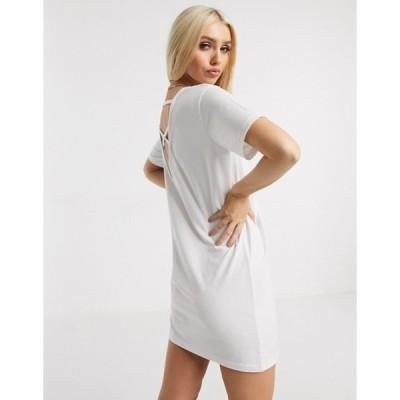 ミスガイデッド レディース ワンピース トップス Missguided cross back t-shirt dress in white
