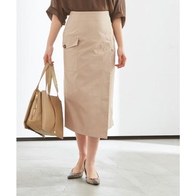 ユアーズ ur's ポケットラップタイトスカート (ベージュ)