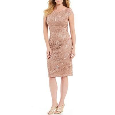アレックスイブニングス レディース ワンピース トップス Cap Sleeve Embroidered Lace Sequin Sheath Dress