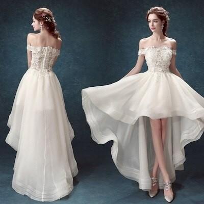 大人気 オフショルダー ウエディングドレス 白 二次会 花嫁 ウェディングドレス 前撮り 撮影 写真 ウエディングフォト p26
