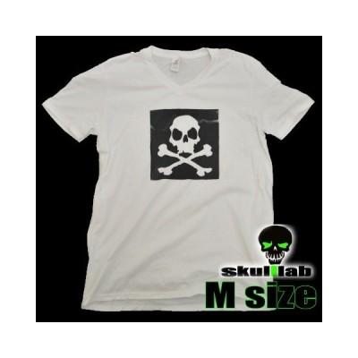 VネックTシャツ 送料無料 スカルラボサーフボード skulllab オリジナル限定Tシャツ Mサイズ 白 ホワイト サーファー 綿T コットン