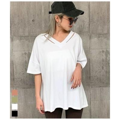 tシャツ Tシャツ ネックデザインビッグTシャツ