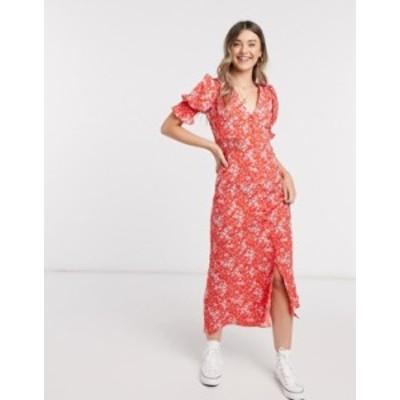 エイソス レディース ワンピース トップス ASOS DESIGN button through maxi tea dress with shirred waist in floral print Floral prin
