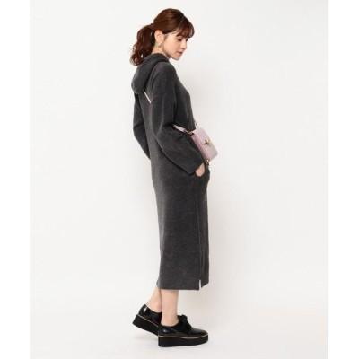 Couture Brooch/クチュールブローチ フードニットワンピース チャコールグレー(014) 38(M)