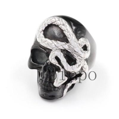 蛇 髑髏頭 メンズ用 指輪 アクセサリー 男性 リング ステンレス 欧米風 パンク風