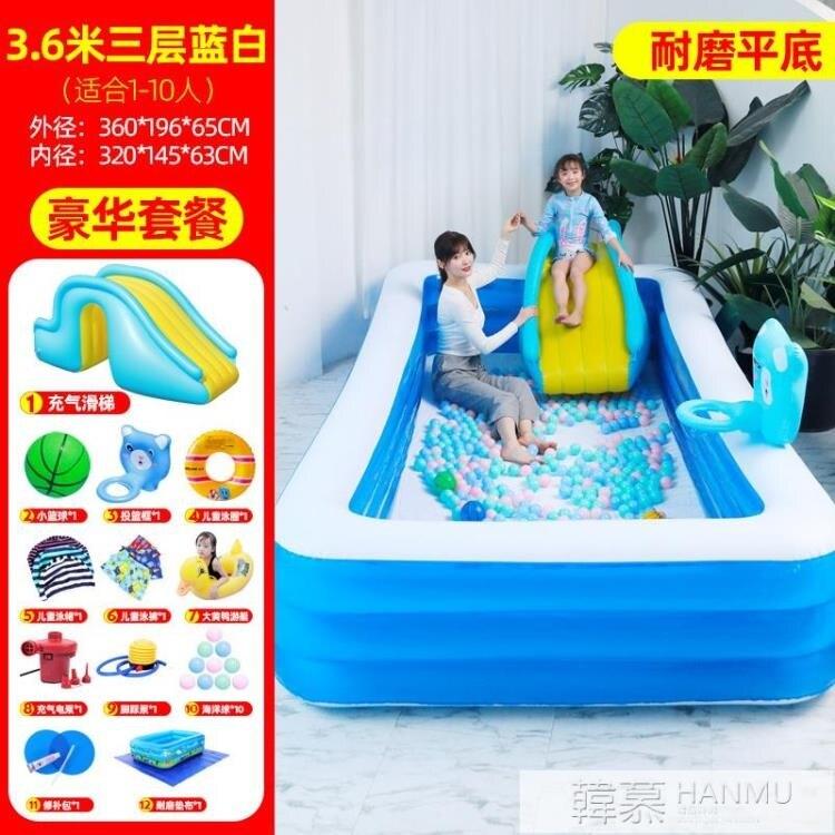 兒童充氣游泳池加厚家用小孩泳池嬰兒寶寶超大型游泳桶滑滑梯水池