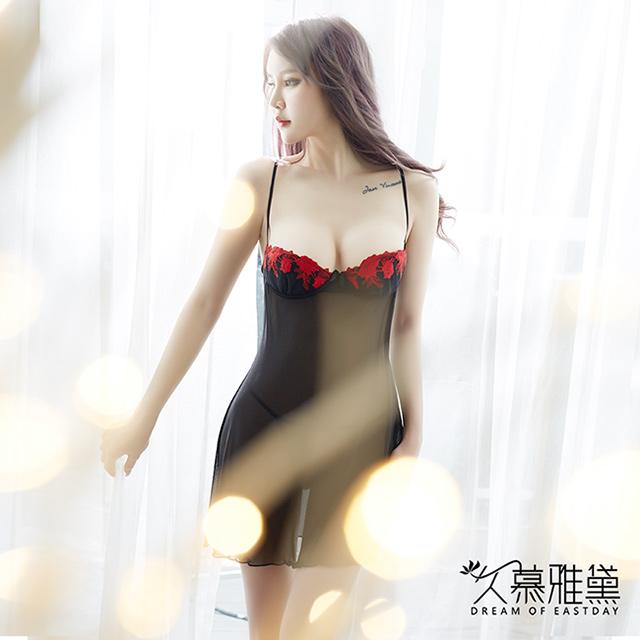 久慕雅黛 提花蕾絲刺繡性感柔紗睡裙。紅色