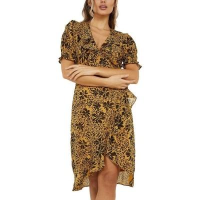 クイズ レディース ワンピース トップス Floral-Print Wrap Dress