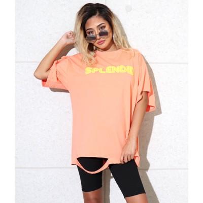 アナップ ANAP フクレプリントダメージオーバーサイズTシャツ (オレンジ)