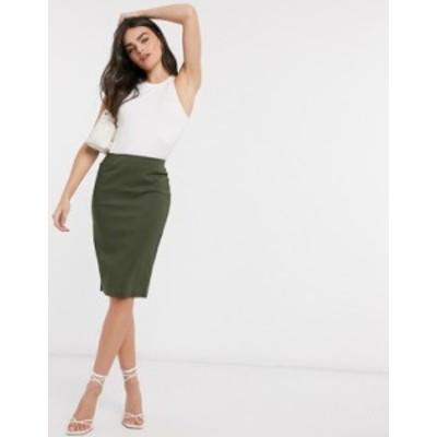 エイソス レディース スカート ボトムス ASOS DESIGN high waisted pencil skirt Moss
