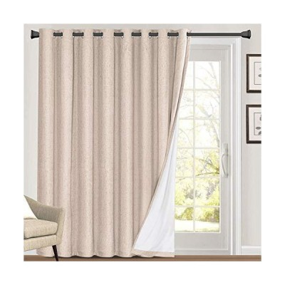 100%遮光リネン風パティオドアカーテン 長さ84インチ エクストラワイド 断熱 グロメットカーテン ドレープ リビングルーム/スライドガラスドア プ