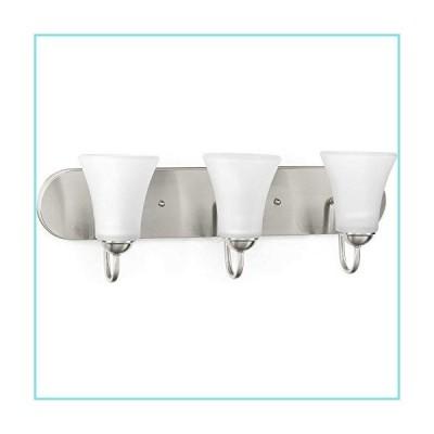 "Progress Lighting P300235-009 Classic Three-Light Bath & Vanity with Etched Glass, 7-7/8"" x 24"", Brushed Nickel【並行輸入品】"