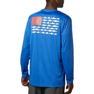 コロンビア メンズ シャツ トップス Columbia Men's Terminal Tackle PFG Fish Flag Long Sleeve Shirt Vivid Blue/White