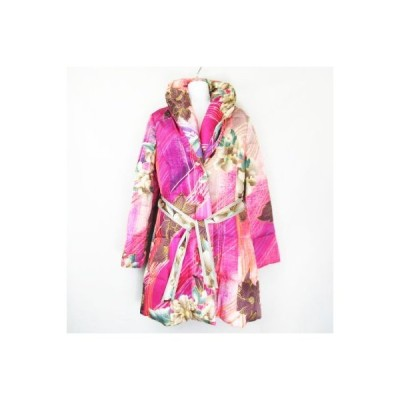 【中古】レオナール LEONARD FASHION 花柄 総柄 絹 シルク ダウンコート  パープル ピンク グレー 38 レディース 【ベクトル 古着】