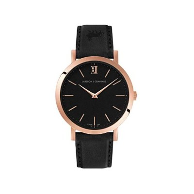 Larsson & Jennings Lugano Unisex Mens Womens Watch with 33mm Black dial and Black Leather Strap LJXII133006. 並行輸入品
