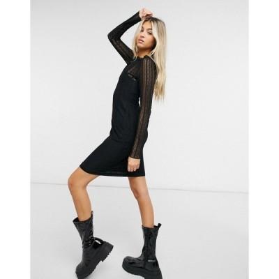 ノイジーメイ レディース ワンピース トップス Noisy May mini dress with mesh overlay in black Black
