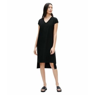 エイリーンフィッシャー ワンピース トップス レディース V-Neck High-Low Dress Black