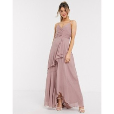 エイソス レディース ワンピース トップス ASOS DESIGN soft layered cami maxi dress in rose pink Rose pink