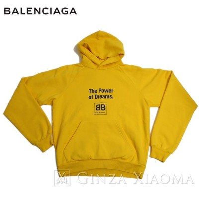 【中古SA/極美品】Balenciaga バレンシアガ  プルオーバーパーカー コットン イエロー トップス スウェット mns