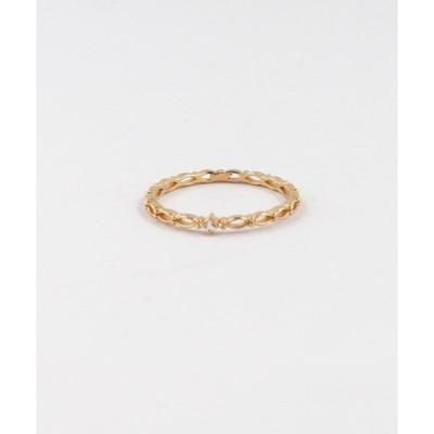 指輪 キュービックジルコニア編みデザインリング