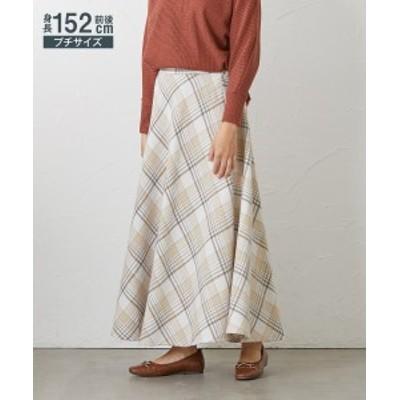 スカート ロング丈 マキシ丈 小さいサイズ レディース シャギー チェック フレア グレー+ブラックチェック/ベージュ+オフチェック SS/S