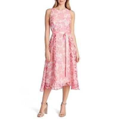 タハリ ワンピース トップス レディース Floral Burnout Chiffon Midi Dress Pink Ivory