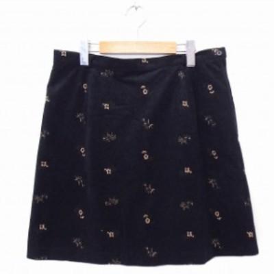 【中古】スカート 台形 花刺繍 ひざ丈 80 ブラック 黒 /FT39 N レディース