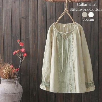 シャツ レディース ブラウス 春 ホワイト 夏 トップス リボンネック 刺繍 花柄 長袖 無地 綿 コットン ゆったり 白 体型カバー 着やせ