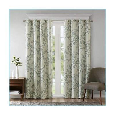 新品SUNSMART Julie Botanical Print Blackout, Casual Grommet Window Curtain for Bed Living Room Kitchen, Black, 1-Panel Pack, 50x84, Aqua