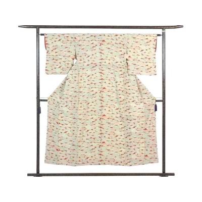 リサイクル着物 小紋 正絹赤地雲取り柄袷小紋着物