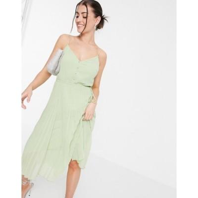 エイソス レディース ワンピース トップス ASOS DESIGN button front pleated cami midi dress with drawstring waist in sage green