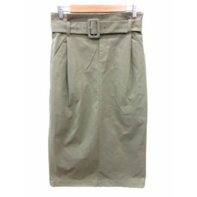 【中古】サルーン saloon スカート タイト ロング ウエストマーク 38 緑 カーキ /YI レディース