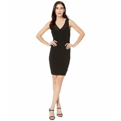 ニコルミラー ワンピース トップス レディース Heavy Jersey/Mesh V-Neck Sleeveless Dress Black