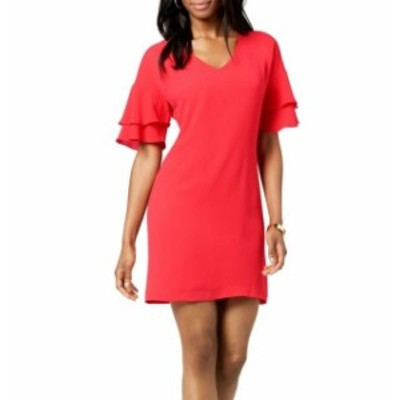 Jessica Howard ジェシカハワード ファッション ドレス Jessica Howard NEW Pink Women Size 6P Petite Ruffle-Sleeve Shift Dress