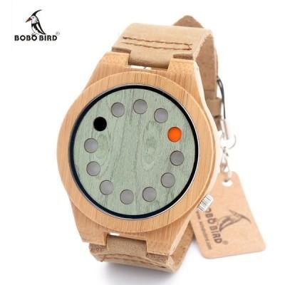 BOBO BIRD メンズ腕時計 クォーツ 竹製 バンブー ホールデザイン ナチュラル シンプル ユニーク