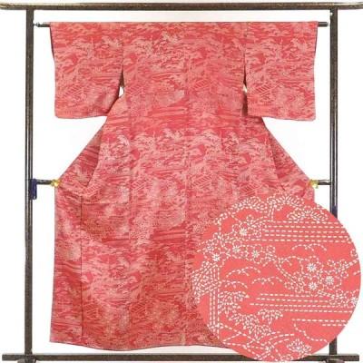 リサイクル着物 小紋 正絹赤地袷小紋着物未使用品