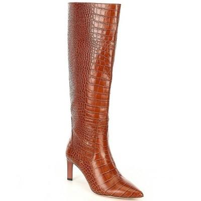 AD&ドーターズ レディース ブーツ&レインブーツ シューズ Tasmine Croc Embossed Leather Tall Shaft Boots Cognac