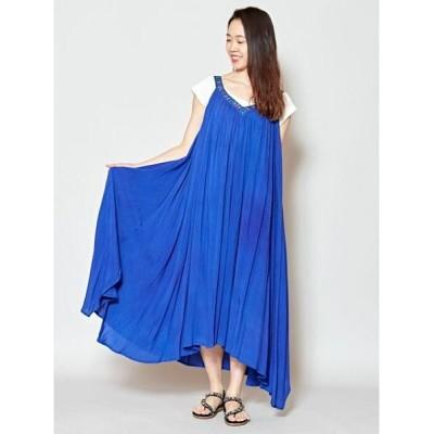 【チャイハネ】 yul ビーズ刺繍ロングキャミワンピース IDS-0409 レディース ブルー Free CAYHANE