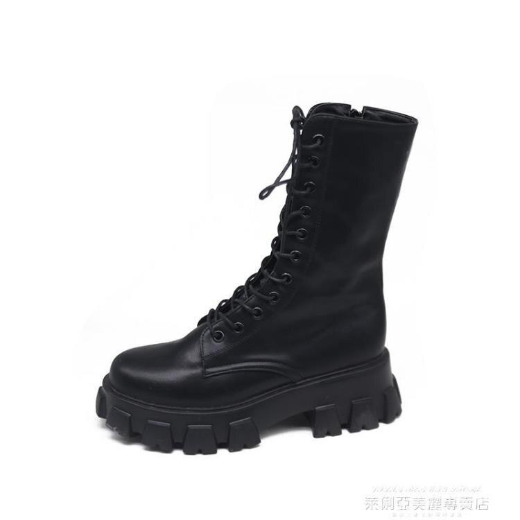 馬丁靴白色馬丁靴女夏季薄款潮ins酷厚底機車靴網紅瘦瘦靴英倫風中筒靴