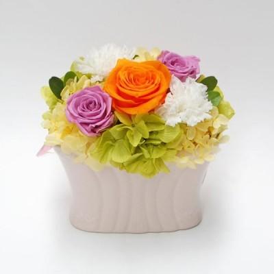 プリザーブドフラワー ギフト ご結婚祝い ご出産祝い 退職祝い お誕生日 記念日 プレゼント 贈り物 ケース入り カロリーナ(オレンジ&パープル)