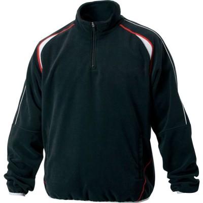 ゼット (メンズ 野球・ソフトボール用ウェア) フリースジャケット 立衿ハーフジップ 裏地付き ブラック ZETT BOF110A 1900