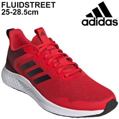 ランニングシューズ メンズ アディダス adidas FLUIDSTREET/ 赤 レッド スニーカー KYT40 ジョギング 男性 スポーツシューズ 運動靴 くつ/FY8453【a20Qpd】
