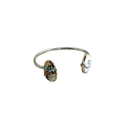 海外輸入品Melissa Joy Manning Ribbon Turquoise and Shiva Shell Cuff Bracelet