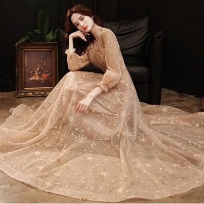 結婚式 二次会 パーティードレス 演奏会 チュール スパンコール 月星 ロングドレス ワンピース 大きいサイズ 長袖 フォーマル お呼ばれ