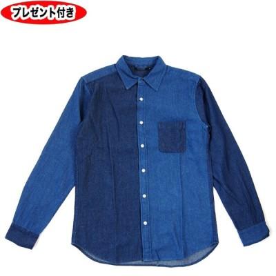 デニムシャツ シャツ ダンガリー 長袖 ロングスリーブ 長袖シャツ 切り替えデニムシャツ 缶バッジプレゼント