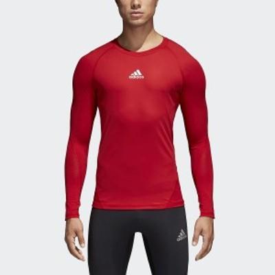 【セール】 アディダス サッカー 長袖インナーシャツ ALPHASKIN TEAM ロングスリーブシャツ EVN55 CW9490 メンズ パワーレッド