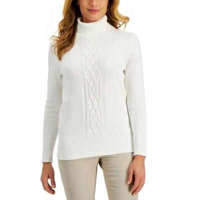 ケレンスコット ニット&セーター アウター レディース Cable-Front Turtleneck Sweater, Created for Macy's Winter White