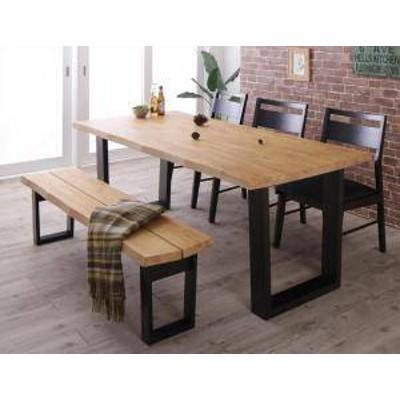 ダイニングテーブルセット 6人用 椅子 ベンチ おしゃれ 安い 北欧 食卓 5点 ( 机+チェア3+長椅子1 ) ベンチ3P 幅180 西海岸 ヴィンテージ