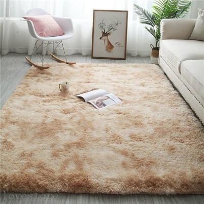 カーペット 絨毯 ふわふわ 多色絞り染め シャギー ベッドサイドマット ラグ ホットカーペット対応 すべり止め 防音 50*160CM 春